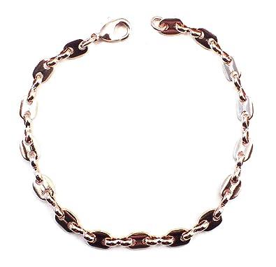 prix le plus bas 0e43d 0d9ca TENDENZE Bracelet Chaine Grain de Café 18ct rose or doublé, 5,5mm, Longueur  au choix, femme homme collier bijoux cadeaux de italien usine tendenze