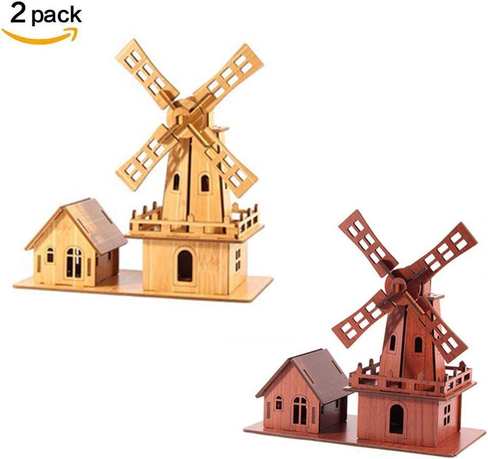 LJSHU Molino de Viento holandés 3D Rompecabezas de Madera Corte por láser Impermeable DIY Modelo de construcción Tridimensional Desarrollo Intelectual Montaje Juego Artista Decoración del hogar,C: Amazon.es: Hogar