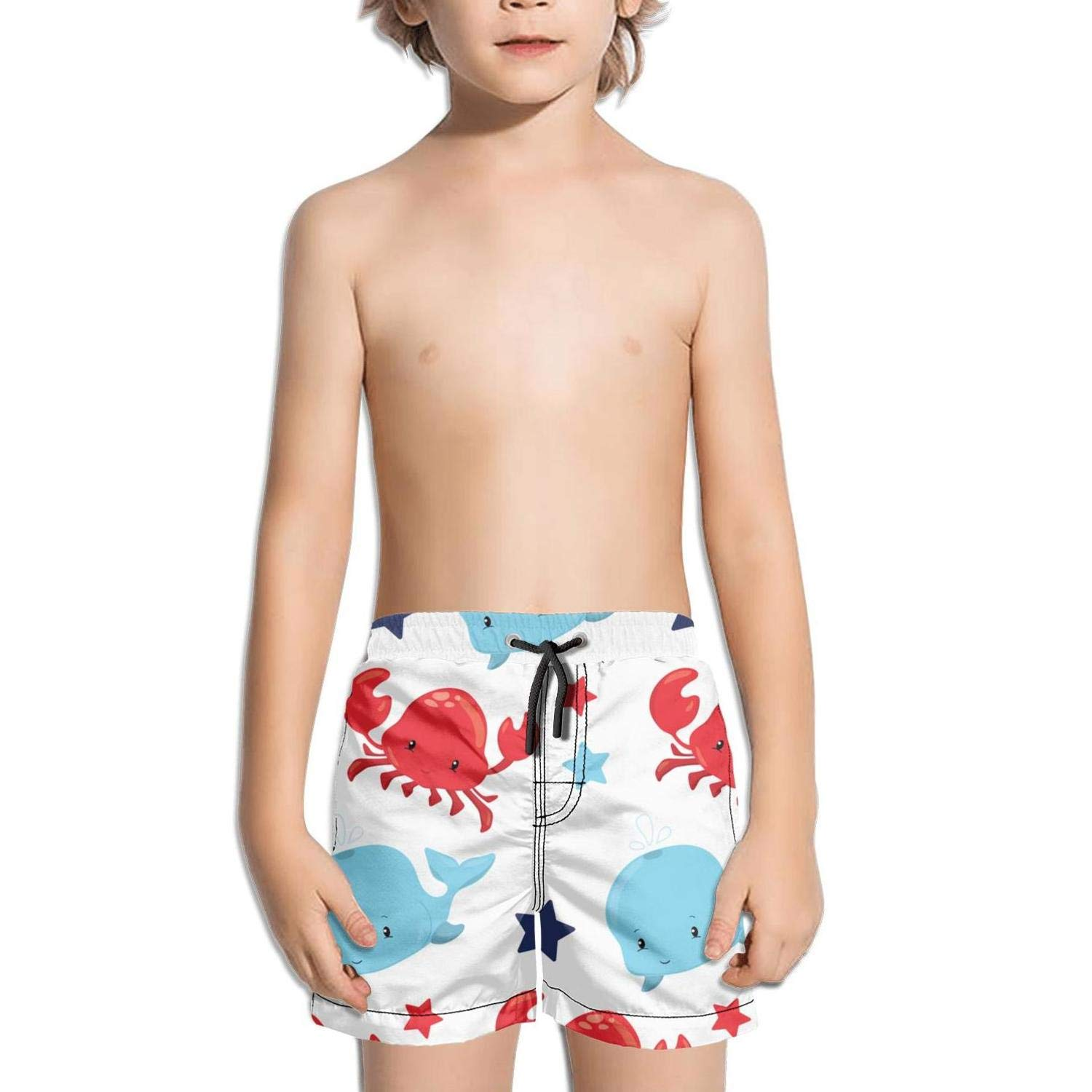 Lenard Hughes Boys Quick Dry Beach Shorts with Pockets Baby Whale red Crab Swim Trunks for Summer