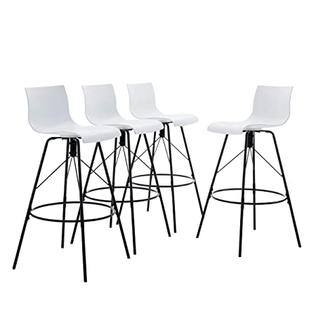 Tongli Modern Barstools Dining Chair Set Ergonomic Industrial Counter Height Bastool Chair Pack of 4 White 30