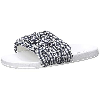 Dearfoams Women's Ruffle Molded Footbed Slide Slipper   Slippers