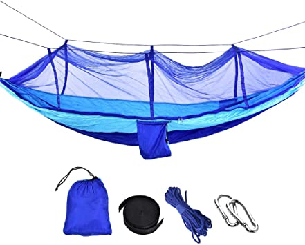 Hiking Backpacking Swing Sleeping Hammock with Net for Outdoor CampingMaste Upgraded 2 in 1 Large Camping Hammock with Mosquito Net Pop-Up Lightweight Portable Hanging Hammocks with Tree Straps