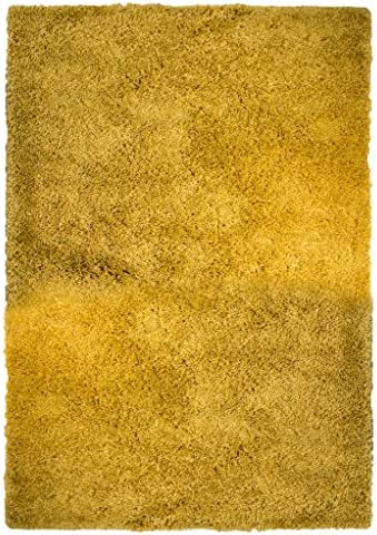Ontario Luxury Easy Clean Yellow Ochre Mustard Shaggy Soft Touch Pile Living Room Bedroom Shag Area Rug 5'3″ x 7'3″