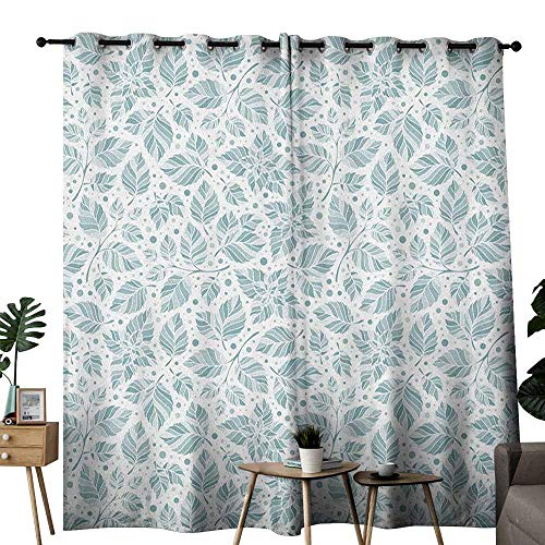 (duommhome Leaves Sliding Curtains Peppermint Foliage Pattern on a Dotted Background Blossoming Nature Noise Reducing W120 x L96 Slate Blue and Bluegrey)