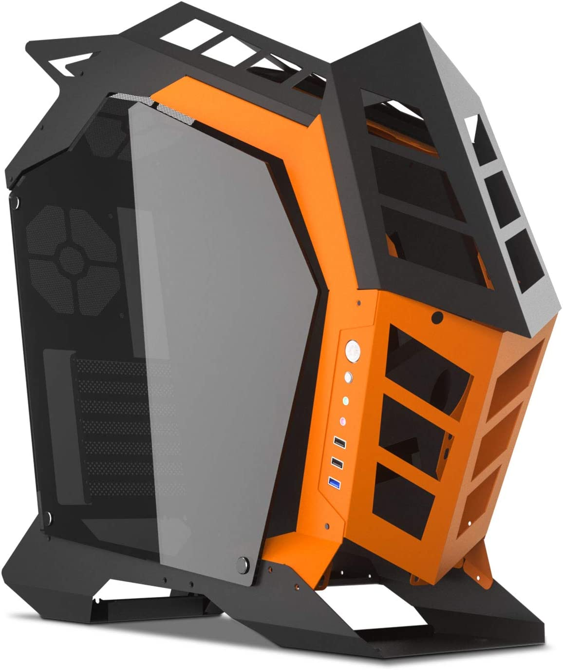 darkFlash Knight Open Frame ATX/Mini ITX/Micro ATX PC Case Mid Tower Aluminum Gaming Computer PC Case with Two Sides of Tempered Glass