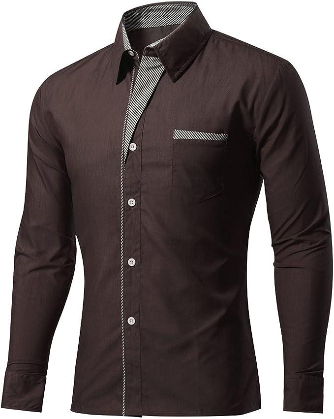 Camicia Uomo Manica Lunga Camicia da Uomo Maniche Lunghe Stiro Facile Slim Fit Casual Camicia Business Rughe Perfetta vestibilit/à
