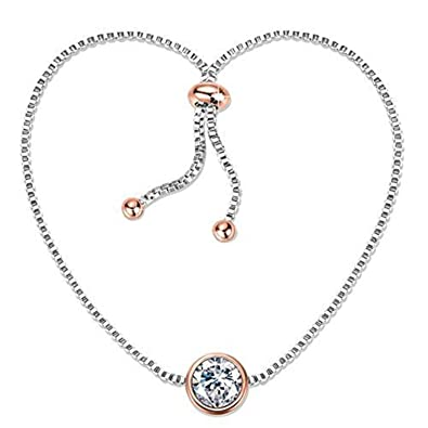 2fed82aa4a7ef9 Angelady 7 Inch Round Adjustable Chain Bracelets Classic Gifts for Women  Girl Wife Mom,Crystals