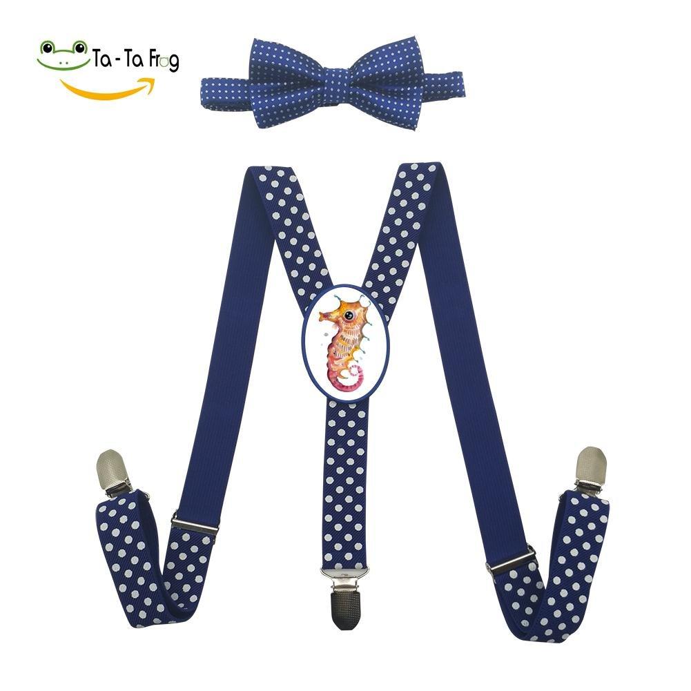 Xiacai Sea Horse Suspender/&Bow Tie Set Adjustable Clip-On Y-Suspender Kids
