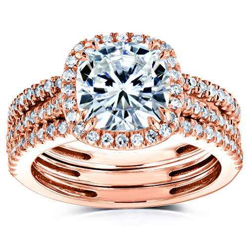 Cushion Brilliant Moissanite and Diamond Halo Bridal Wedding Rings Set 2 1/2 CTW 14k Rose Gold (FG/VS, GH/I), 6