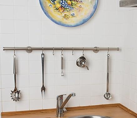 Porta utensili da cucina Ø 20 mm, L. 80 cm. in acciaio satinato ...