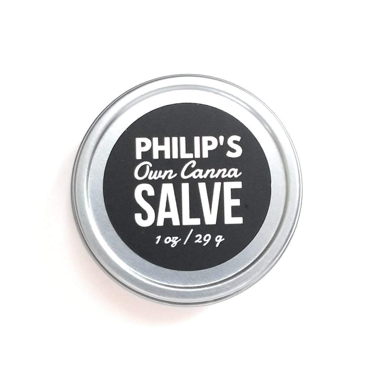Philip's Own Canna Salve 1 oz / 29 g (Vegan) - Hemp and Tea Tree Oil Balm for Anxiety and Stress Relief - Aromatherapy and Massage Topical Ointment - Tattoo Aftercare for Dry Skin