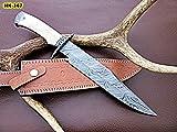 REG-HK-367, Handmade Damascus Steel 15 Inches Bowie Knife – White Bone Handle with Damascus Steel gaurd/pommel For Sale