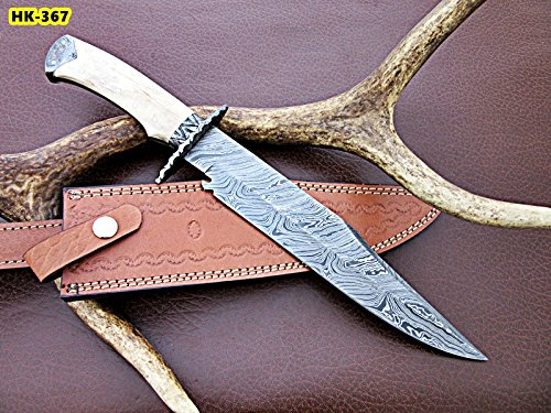REG-HK-367, Handmade Damascus Steel 15 Inches Bowie Knife - White Bone Handle with Damascus Steel gaurd/pommel