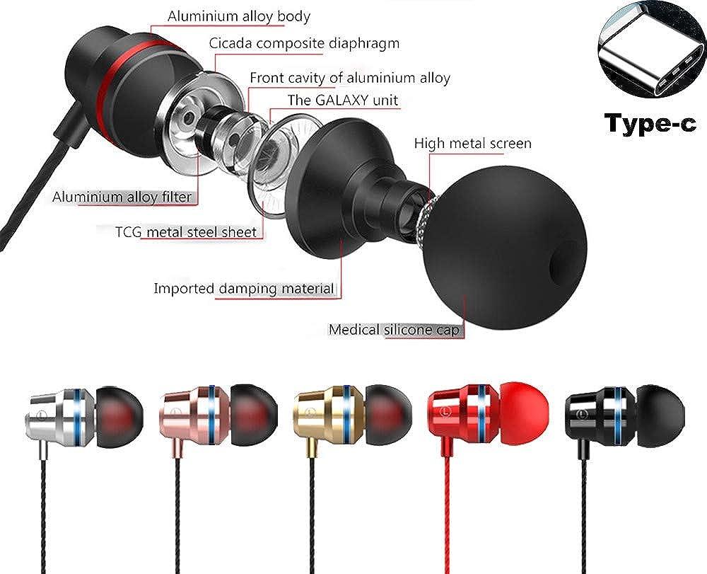 Balock Schuhe Type-C Headset,Typ-C-In-Ear-Ohrh/örer mit Ohrh/örer f/ür Kopfh/örer,Mit drahtgesteuertem Mikrofon,f/ür Joggen Laufen Fahren Radfahren Wandern