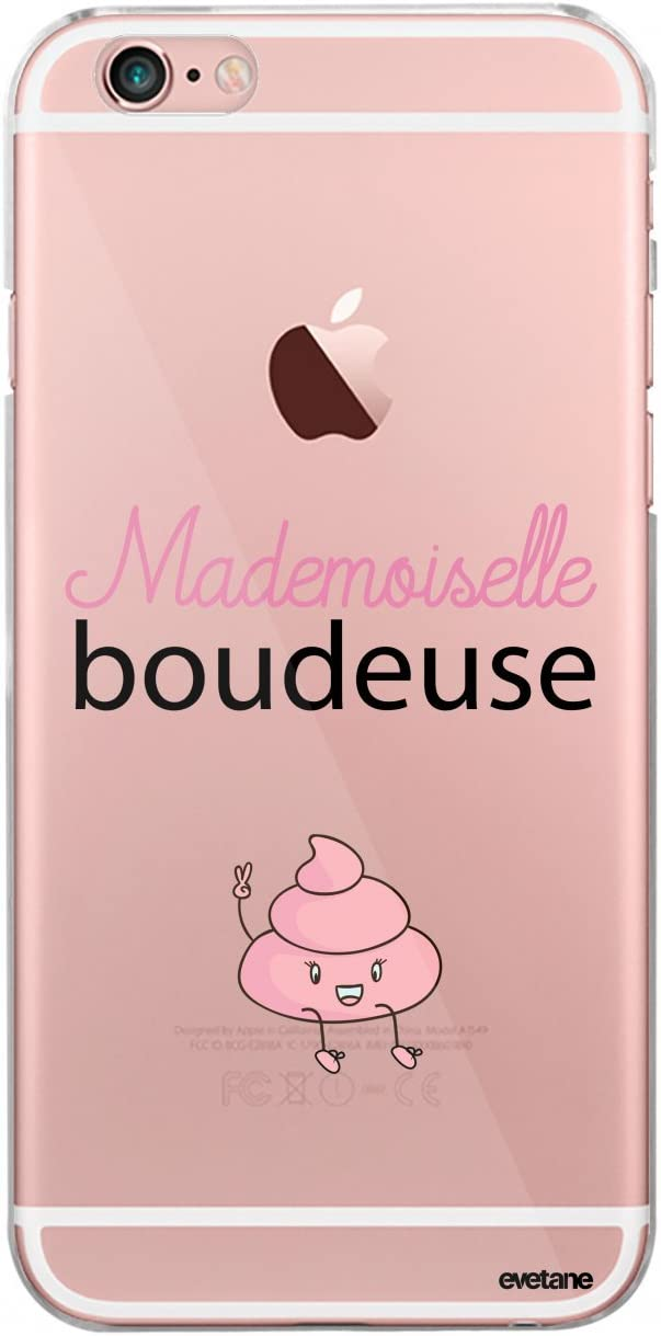 Evetane Coque Compatible avec iPhone 6/6S Souple Silicone Solide Ultra Resistant Fine Protection Housse Etui Transparente Mademoiselle boudeuse Motif ...
