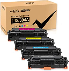 v4ink Remanufactured Toner Cartridge Replacement for Canon 118 CRG118 HP 304A CC530A for use with Canon ImageCLASS MF726Cdw MF8350CDN MF8580Cdw LBP7660Cdn HP Laserjet CP2025n CM2320nf (KCYM, 4 Pack)