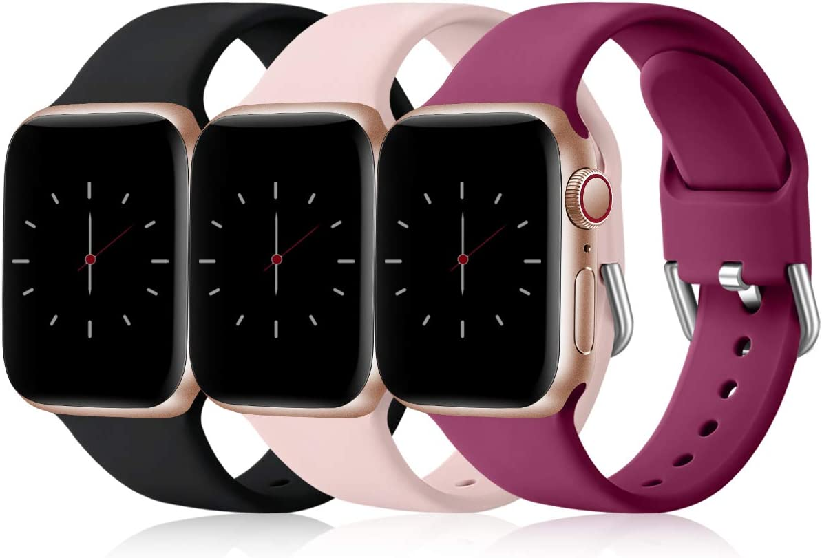 Wepro 3 Pack Correas Compatible con Apple Watch Correa 38mm 42mm 40mm 44mm, Correa de Silicona Suave de Repuesto Compatible con iWatch Series 6, 5 4 3 2 1, SE, 42mm/44mm-S/M Negro/Rosa/Fucsia