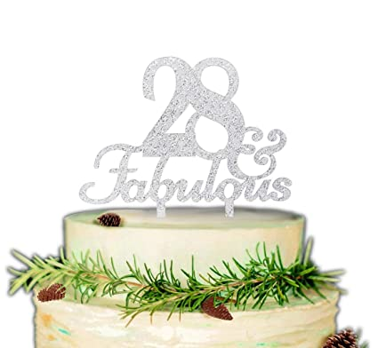 Excellent 28 Fabulous Cake Topper Premium Quality Acrylic For 28Th Birthday Cards Printable Inklcafe Filternl