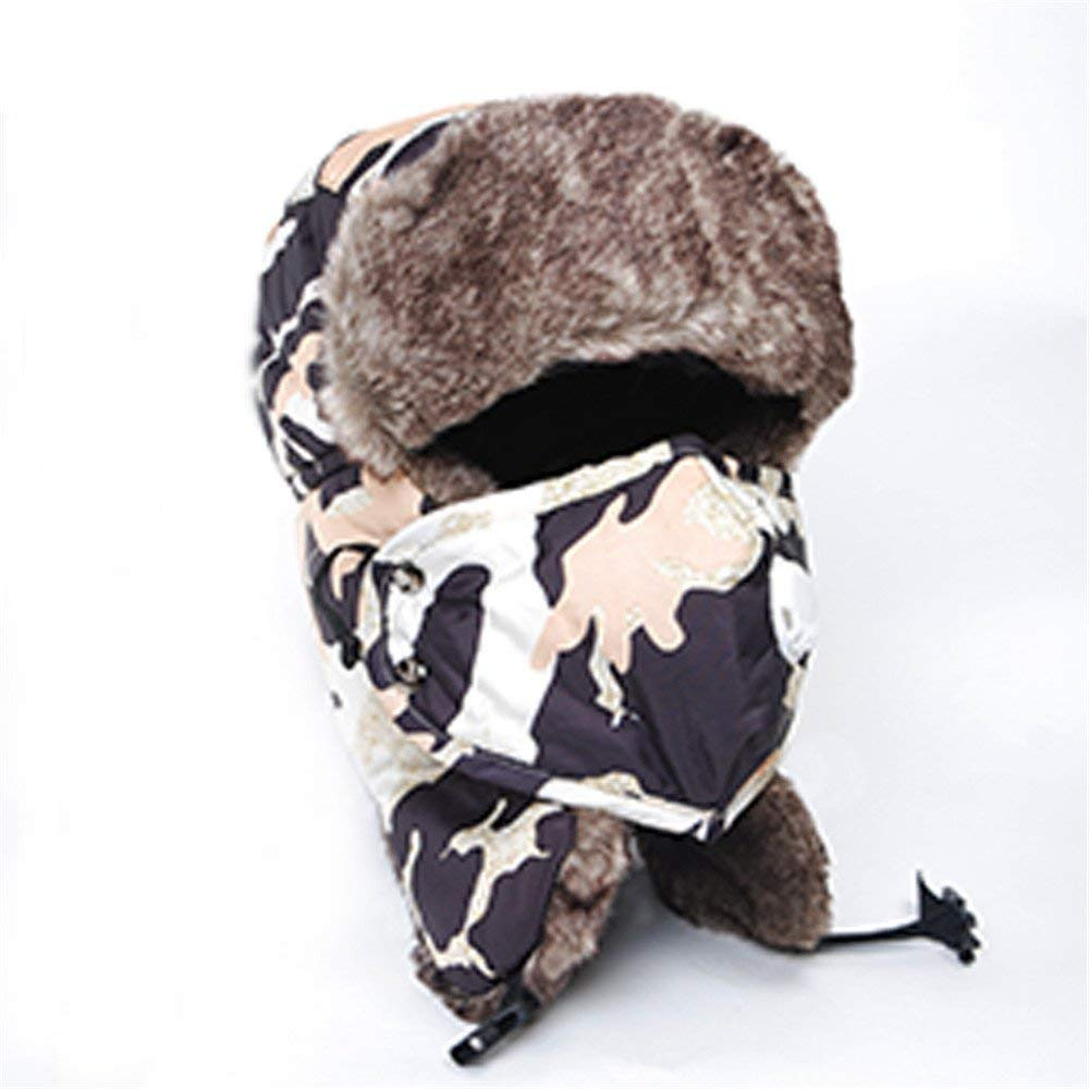 Thundertechs The Girlfriend Boyfriend Winter hat Cap and Thick Warm Warm Cotton hat Windproof Earmuffs Bicycle Cap (Color : Camouflage Dark Grey, Size : M)