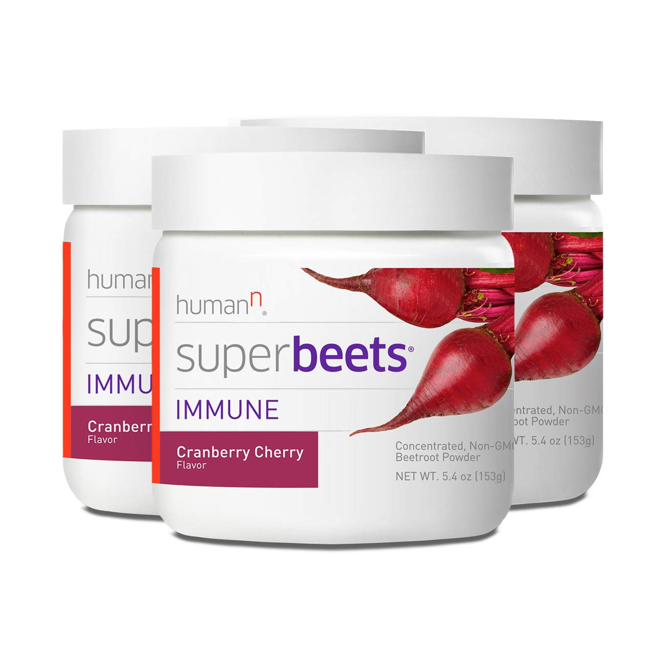 HumanN SuperBeets Immune Concentrated Non-GMO Beetroot Immune System Supporting Supplement (Cranberry Cherry, 5.4-Ounce, 3-Pack)
