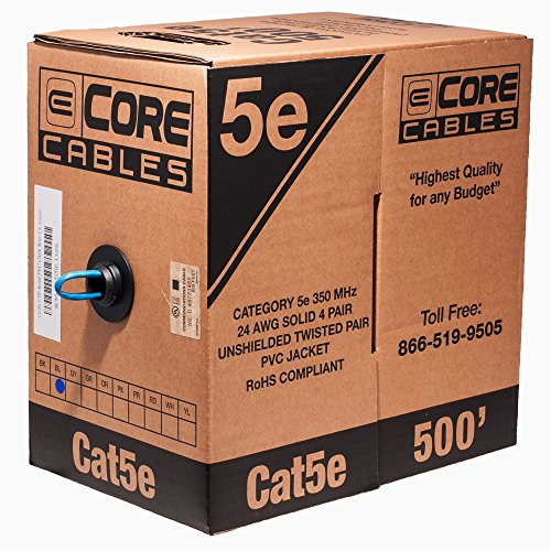 ECore Cables 85-555-515 BL Cat5e UTP Solid Copper PVC Cable - 500' Pull Box - Blue Cat5e Pvc Cable