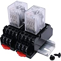mxuteuk 2pcs HH54P AC 12V Coil 14 Pin 3A 4PDT LED Indicator Electromagnetic Power Relay, with Base, with DIN Rail Slotted Aluminum,1 Years Warranty