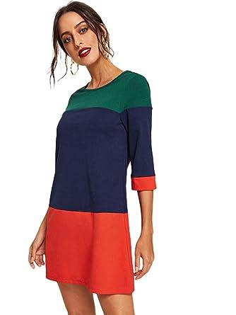 Romwe Women s 3 4 Sleeve Round Neck Colorblock Casual Short Dress Green XS c2b64057bc