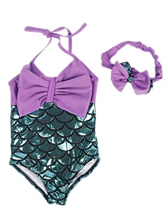Araus Mermaid Swimwear Baby Girl One Piece Halter Bow Swimsuit With