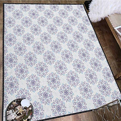 10' College Snowflake - Snowflake Super Soft & Cozy Rugs,Floral Arrangement with Winter Season Inspirations Swirls and Curves Design Provides Protection and Cushion for Floors Pale Blue Lilac 71