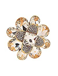 Women Fashion Gold Alloy Crystal Petals Clothing Accessory Flower Brooch