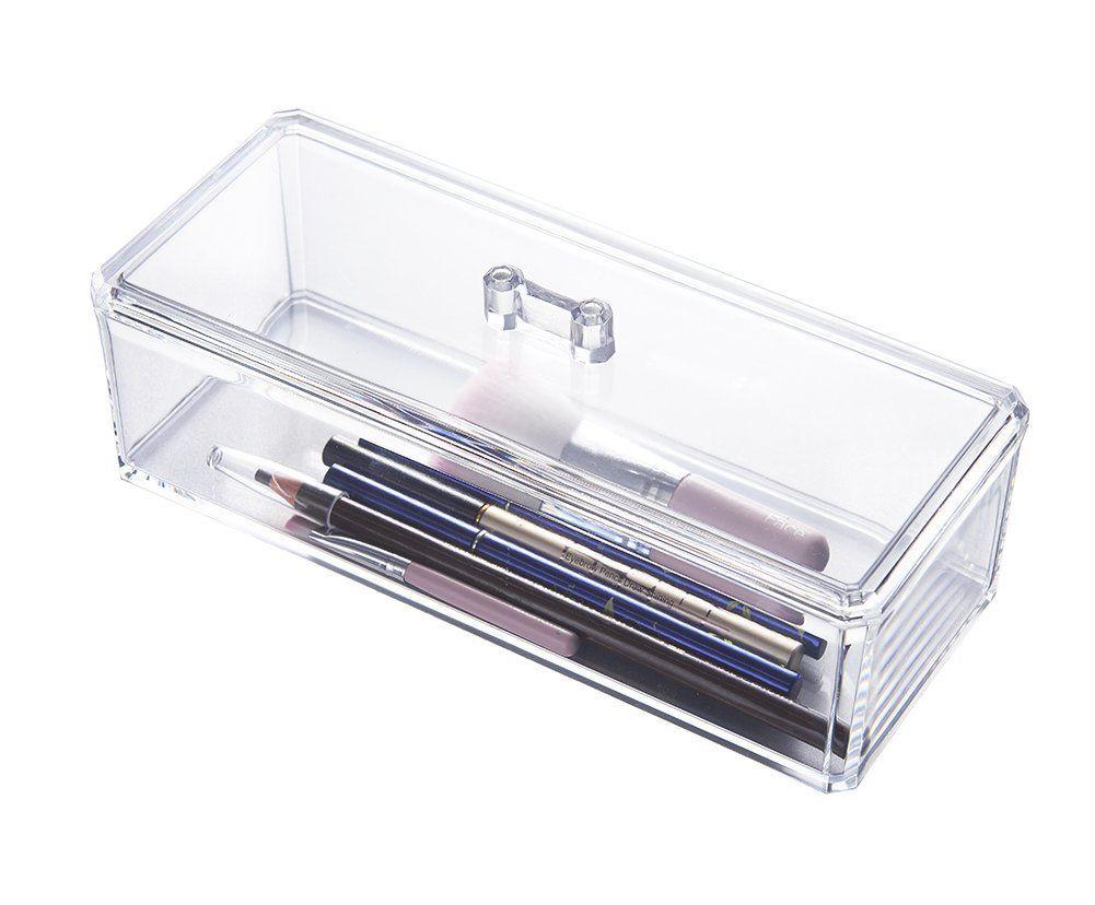 Rectangle Brush Holder Acrylic Multifunctional Organizer with Lid Choice Fun