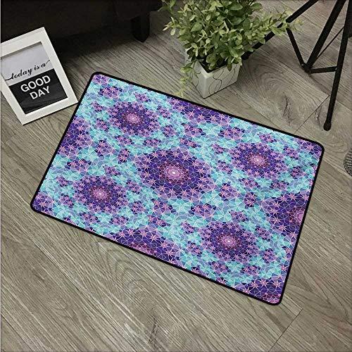 Anzhutwelve Purple Mandala,Funny doormats Geometric Mosaic Fractal Ethnic Sign of Universe Graphic Art W 16