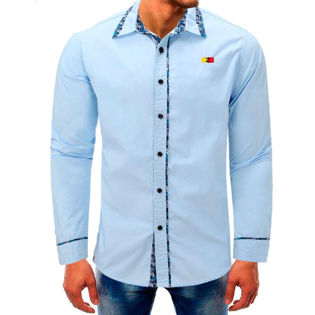 Clearance Sale Mens Shirts vermers Men Long Sleeve Beefy Button Basic Solid Blouse Tee Shirt Top(XL, Sky Blue)