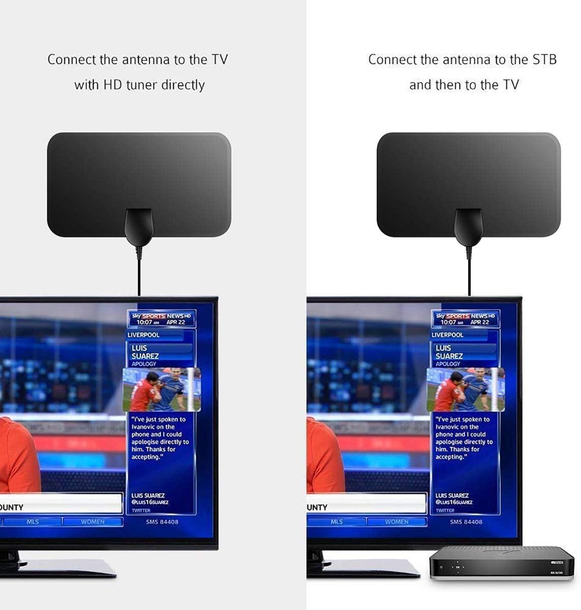 Antena de TV interior, 50 millas digital HDTV de 50 millas con vista libre 4K 1080P HD FM VHF UHF antena para ...