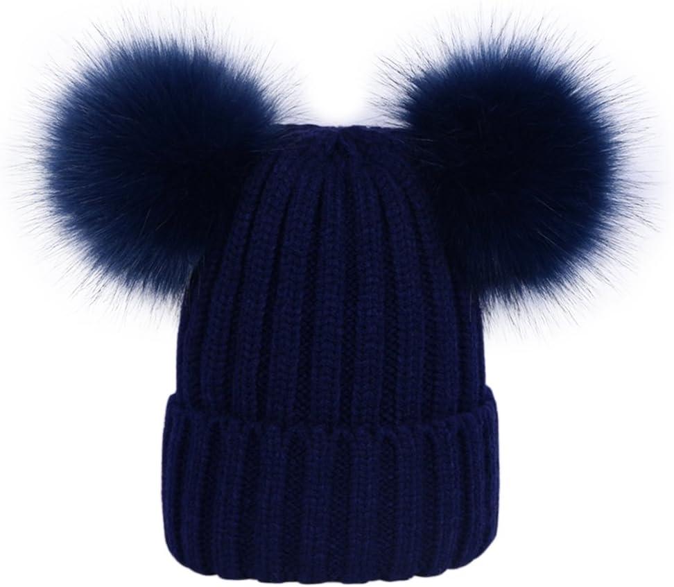 Womens Double Pom Pom Beanie Hat Ladies Faux Fur Ball Winter Hats Red Black