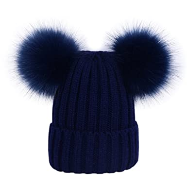 40d6471fcca Lau s Women s Warm Winter Ribbed Knit Bobble Hat with Navy Faux Fur Double Pom  Pom Beanie