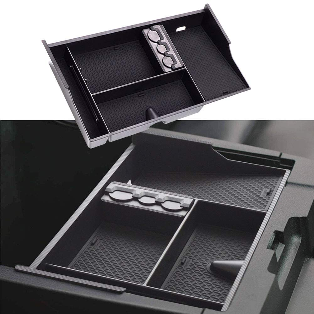 JDMCAR Center Console Organizer for 2007-2019 Tundra/2008-19 Toyota Sequoia Insert ABS Armrest Box Secondary Storage