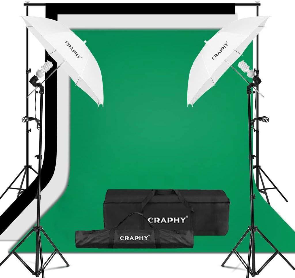 CRAPHY Kit de Iluminación para Fotografía, 2X Paraguas Blanco Traslúcido, 3X Fondos Croma Verde, Negro y Blanco