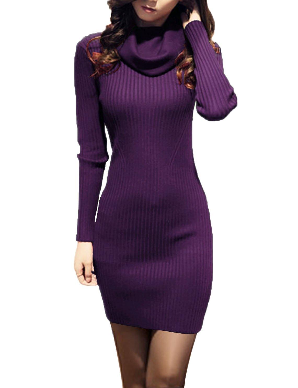 v28? Women Cowl Neck Knit Stretchable Elasticity Long Sleeve Slim Fit Sweater Dress XS/S US 2-8 Purple