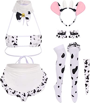 IDOPIP Women Sexy Milk Cow Maid Lingerie Set Anime Lolita Cosplay Mini Bikini Bra Underwear Nightwear Fancy Dress up Costume
