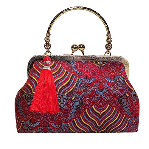 Embroidery Women Red Purse Clip Folk Handbag Wristlet Everpert Red Clutch Evening f1xqwEPBP
