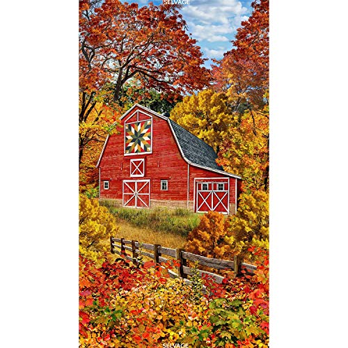 Timeless Treasures Autumn Barn with Quilt Design Panel Cotton Fabric ()