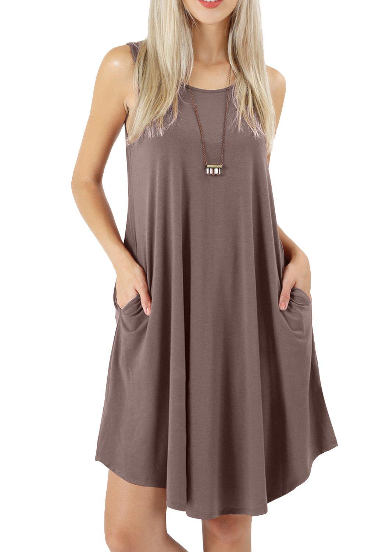 peassa Women Summer Sleeveless Flowy Plain Beach T Shirt Pockets Dress Khaki S