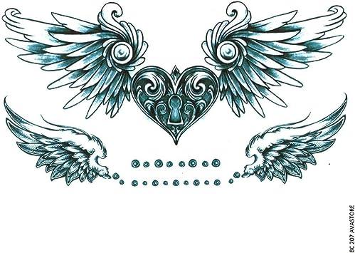 Tatouage Temporaire Femme Cœur Ailes D Ange Bleu Tatouage Ephemere Femme Cœur Ailes D Ange Avastore Amazon Fr Beaute Et Parfum