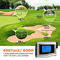 "BanffCliff 1.8"" LCD Screen Display Golf Rangefinder, 656Yard/ 600M Laser Range Finder with Golf Flagpole Lock Fog Mode Distance Correction Water Resistant Laser Distance Measure w/Carry Case Battery"