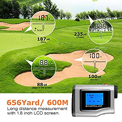 "BanffCliff 1.8"" LCD Screen Display Golf Rangefinder, 656Yard/ 600M Laser Range Finder with Golf Flagpole Lock Fog Mode Distance Correction Water Resistant Laser Distance Measure w/ Carry Case Battery from BanffCliff"
