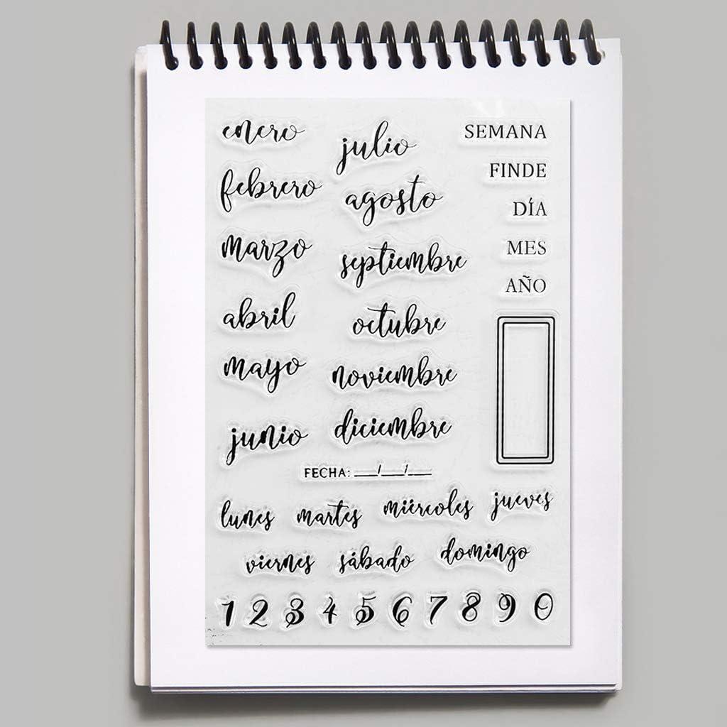 PHILSP Fechas en espa/ñol Sello de Sello Transparente de Silicona /Álbum de Fotos en Relieve DIY Scrapbooking