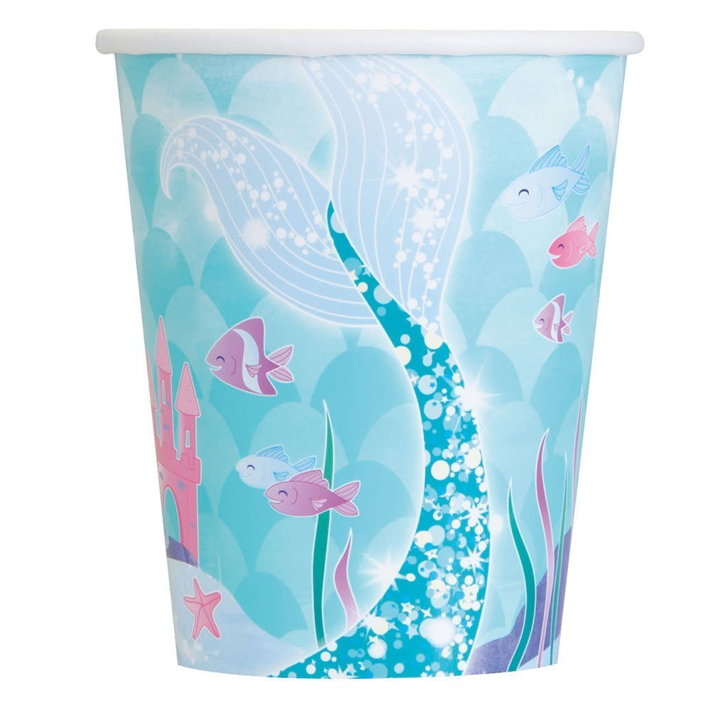 All Mermaid Under The Sea Themed Supplies and Decorations HeroFiber Cups Plates Mermaid Under The Sea Party for 8 Hanging Tassels Cutlery Table Cover Centerpiece Napkins