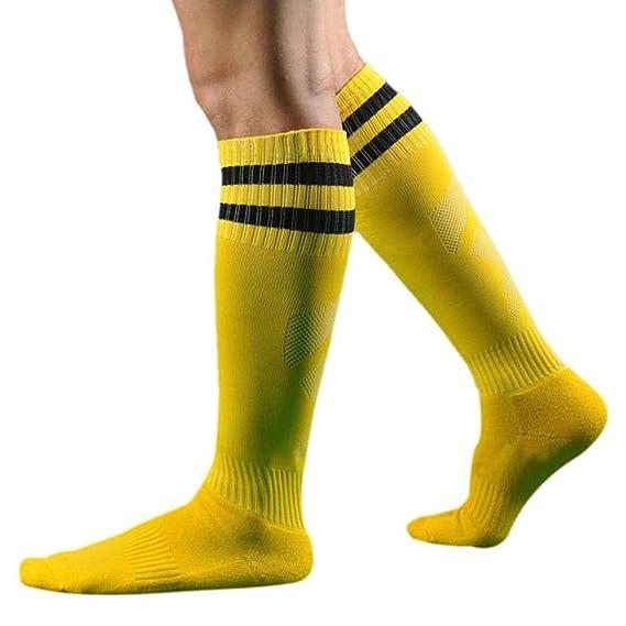 DAYLIN Calcetines deportivos para hombres, Casual Fútbol Béisbol Hockey Largo Calcetines, Color Sólido (talla única, Amarillo): Amazon.es: Ropa y accesorios