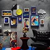WUXK The creative personalized Wall Clocks photo wall retro industrial air photo wall combination wall hanging photo frame 6